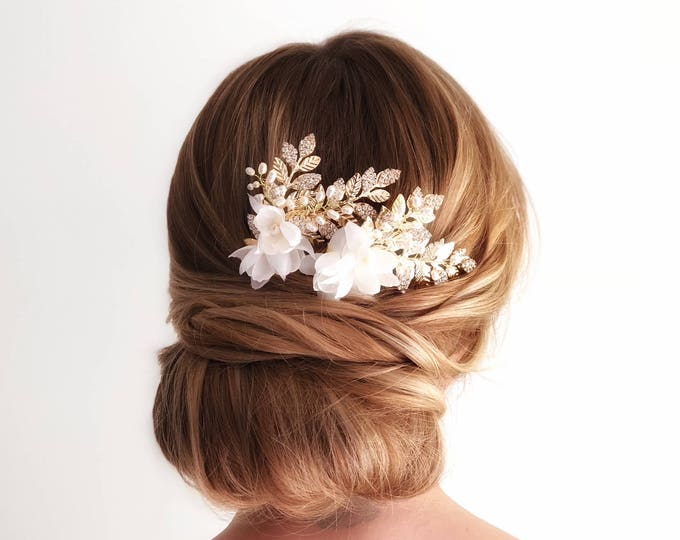Gold Leaf Hair Comb, Ivory Flower Hair Piece, Wedding Hair Piece, Wedding Hair Accessories, Pearl Bridal Headpiece, Pearl Bridal Hair Clip