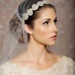 Juliet Cap Veil Vintage Inspired Tulle Veil, Juliet Veil, Rhinestones, Crystals, Art Deco - Made to Order - TARA