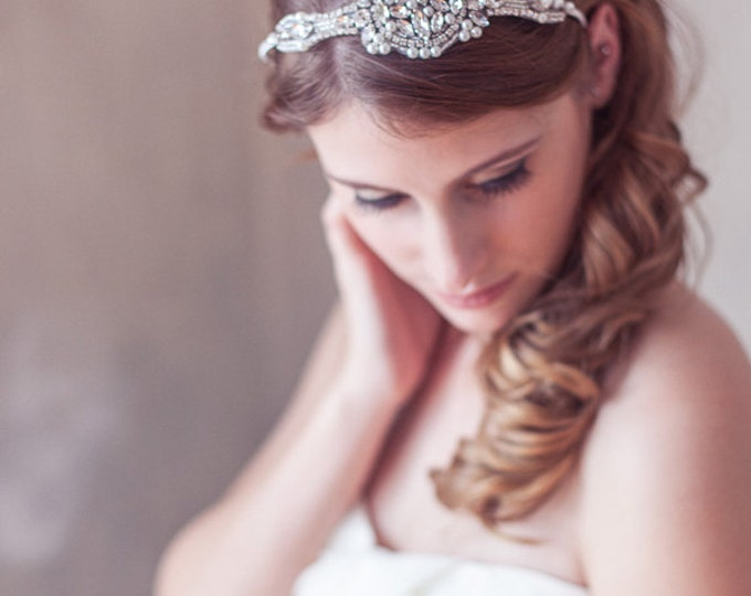Delicate Art Deco Headband, Silver, Crystal Pearl Great Gatsby Headband, Birdcage Veil, blusher veil, Mini Veil Headband, Crystal Headpiece