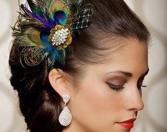 87493f666901c Royal Blue Peacock Hair Clip Bridal Head Piece Peacock Feather Fascinator  Wedding Hairpiece Sapphire Vintage