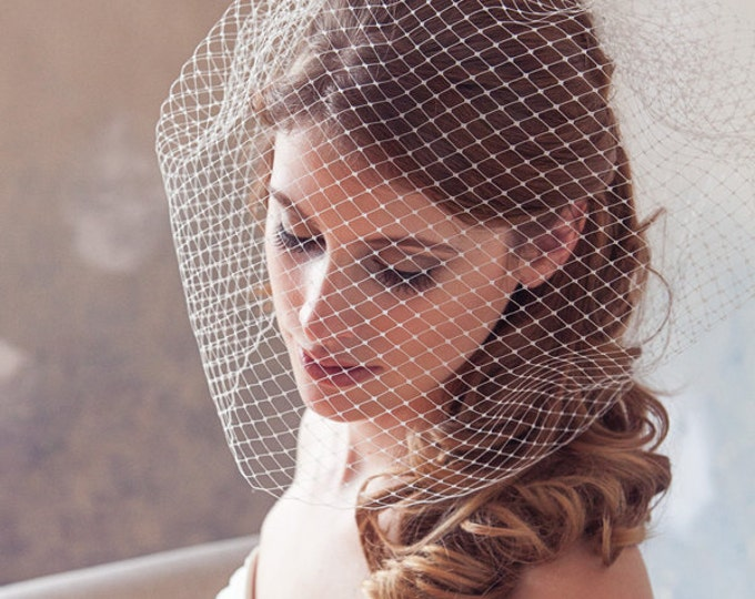 Birdcage Veil, Blusher Veil, Bird Cage Veil, French veil, Bridal Birdcage Veil, Wedding Veil, Blusher Veil, Large Full Bridal Veil