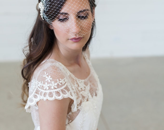 Silver Birdcage Veil, Bridal Veil and Pearl Bridal Comb, Bandeau Birdcage Veil, Blusher Bird Cage Veil - Detachable Pearl Bridal Hair Comb