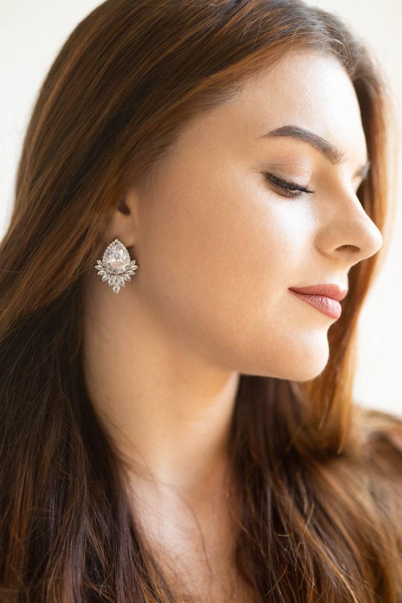 Silver Bridal Earrings Crystal Art Deco earrings Wedding image 0