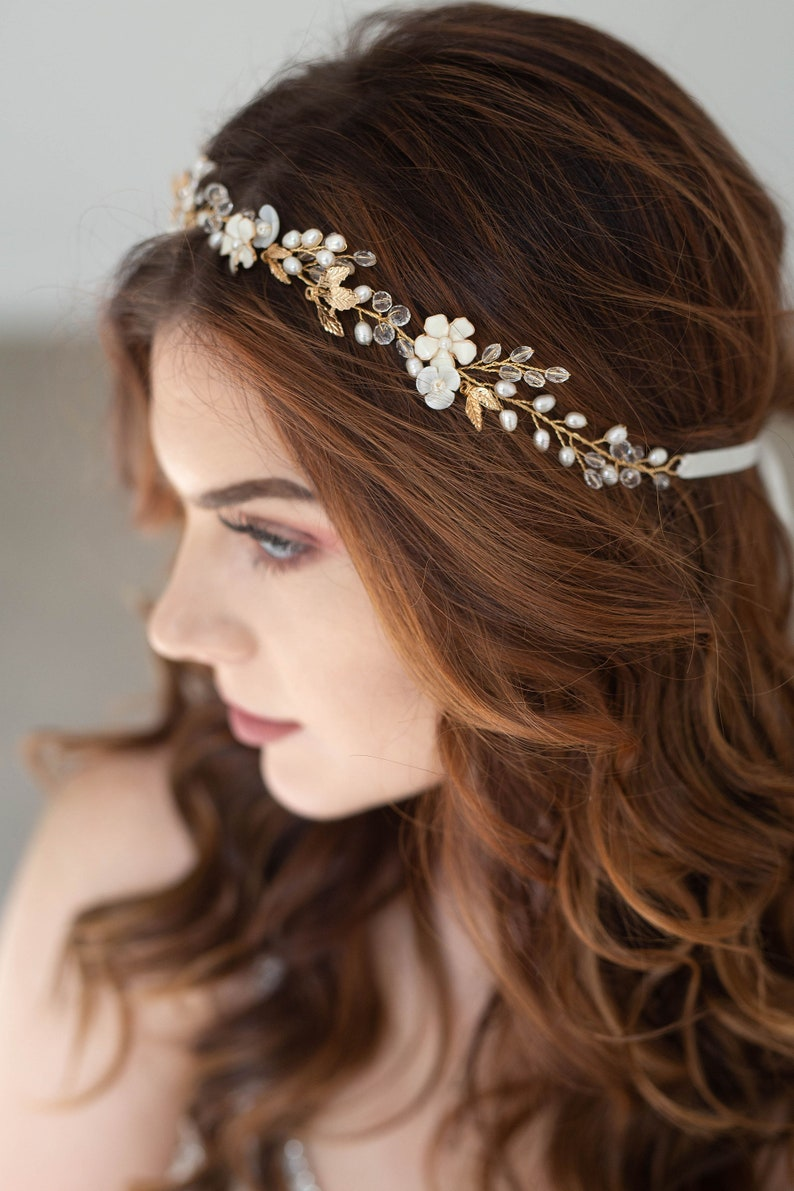 Gold Floral Bridal hair vine Bridal Headpiece Gold hair image 0