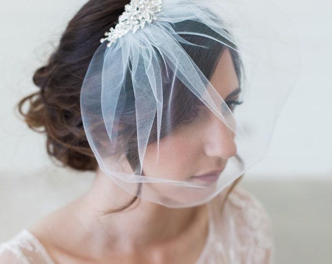 Ivory Birdcage Veil, Crystal comb cage Veil, Wedding Veil, Rhinestone Comb, Blusher Veil, Tulle Veil, Bridal Veil - Quick shipper - SYLVIA