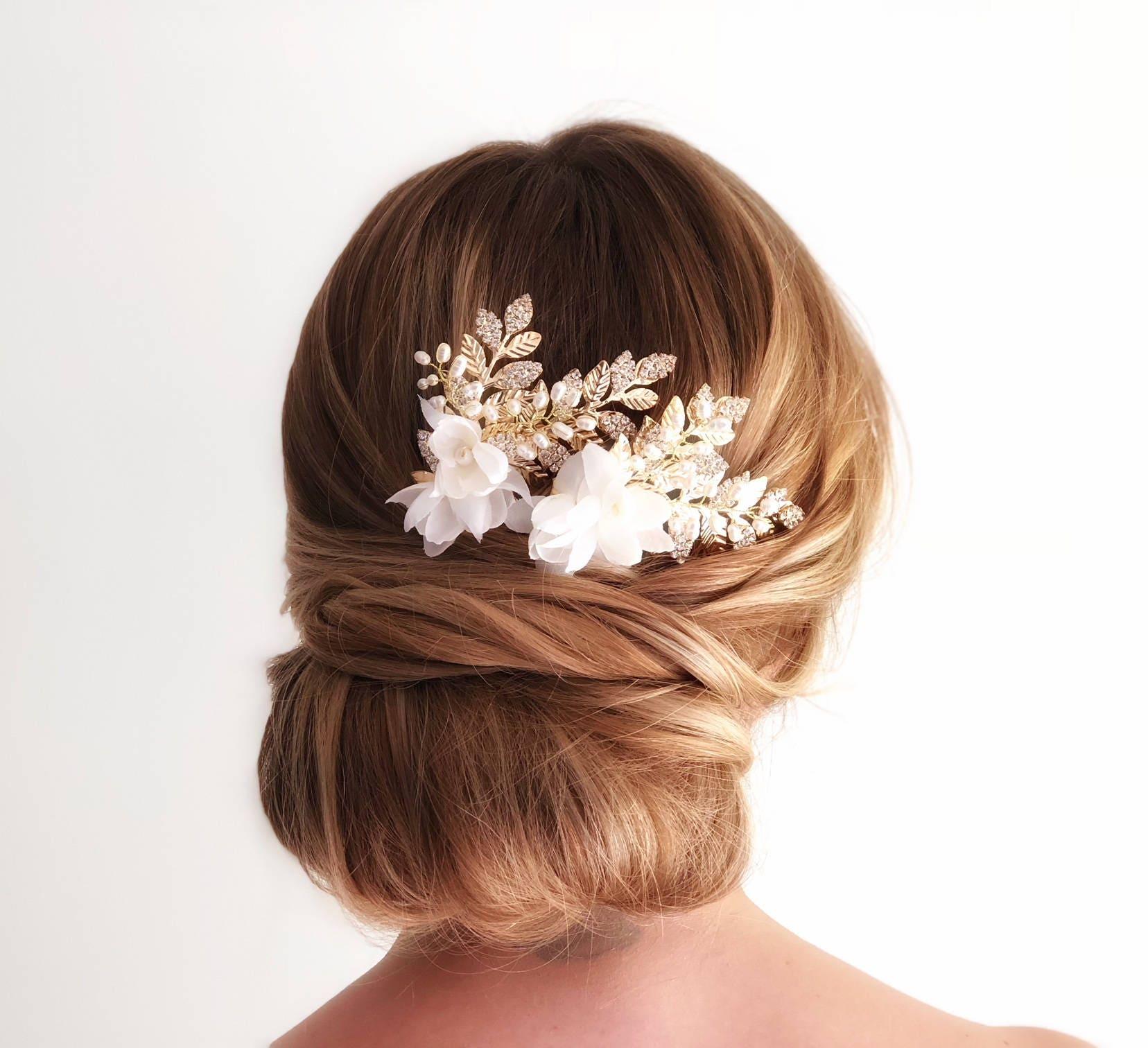 gold leaf hair comb, ivory flower hair piece, wedding hair piece