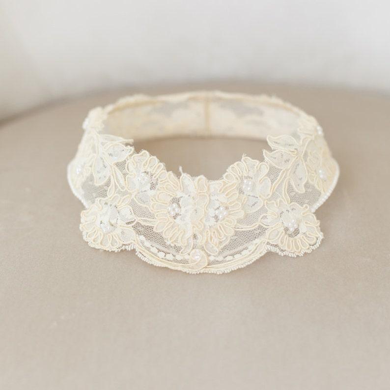 Lace Bridal Cap Cap Veil Lace Circlet Princess Grace Lace image 0