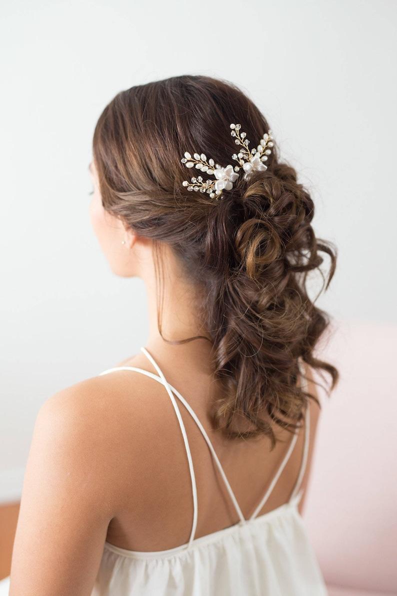 0b55b9e64183c Wedding Hair Accessories Bridal Headpiece Gold flower Hair