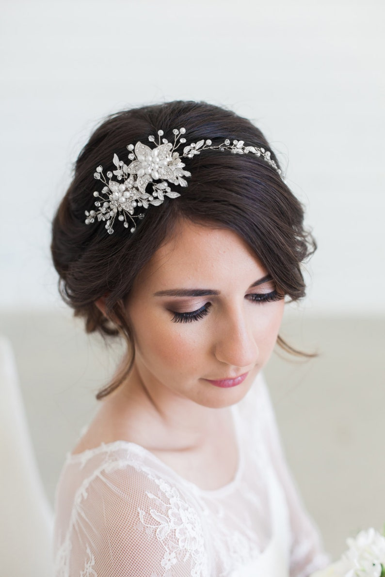 FREE SHIPPING Silver Bridal Headpiece Wedding Hair Vine image 0