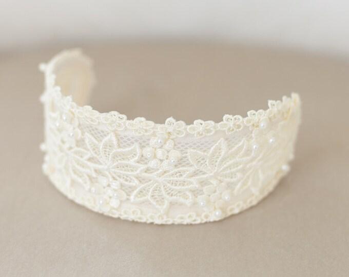 Lace headpiece, Ivory Lace Cap, Ivory Headpiece, Vintage Lace Headband, Lace Crown, Veil Cap, Wedding Headpiece, Princess Grace headpiece