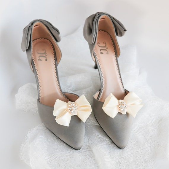 Ivory Satin Bow Wedding Shoe Clips With Crystal And Pearl Etsy
