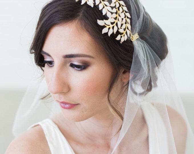 Gold Grecian Headpiece, Laurel Leaves Tiara, Bridal Cap, White Leaves Head Piece, Juliet Cap veil, Art Deco Headpiece, Juliet Veil
