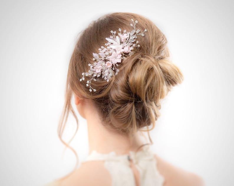 Bridal Hair Piece Blush Wedding Hair Piece Silver Floral image 0