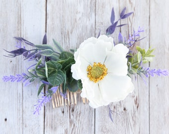 Eucalyptus lavender hair comb, flower headpiece for wedding, floral bridal hair comb, wedding hair accessories, updo hair piece, poppy hair