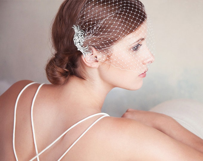 Birdcage Veil, Silver Bridal Comb, Bandeau Birdcage Veil, Silver Blusher Bird Cage Veil, QUICK SHIPPER, Silver Rhinestone Comb with Veil