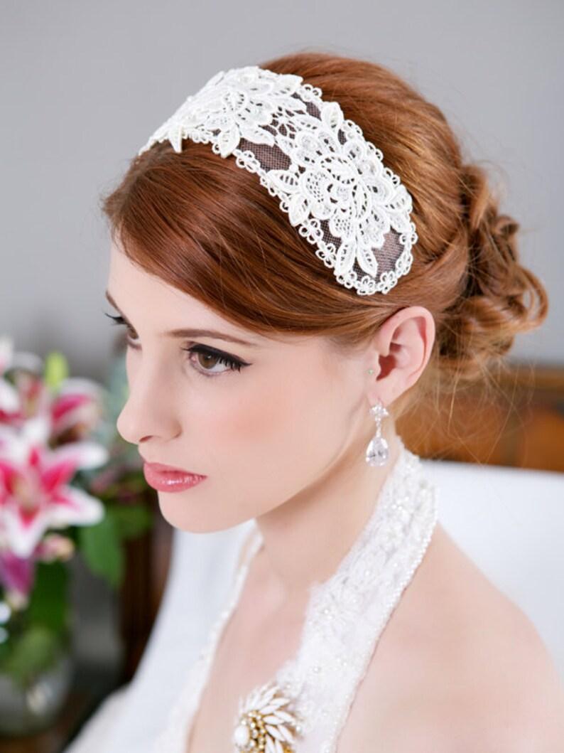 Ivory Lace Tiara Bridal Cap Vintage Lace Wedding Headband image 0