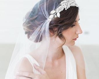 Juliet Cap Veil, Cap Veil, Tulle Veil, Juliet Veil, Rhinestones, Crystal Veil, Art Deco Veil, Silver Crown Veil, Silver Crown Cap Veil