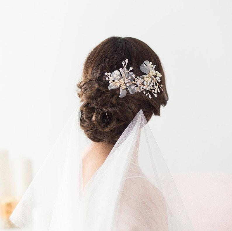 Gold Crystal Hair Comb Bridal Comb Flowers Gold Bridal Comb image 0