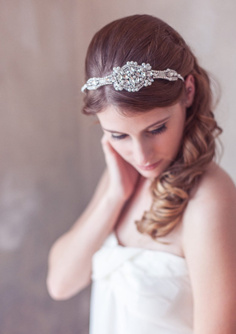 Delicate Art Deco Headband Silver Crystal Pearl Great Gatsby image 0