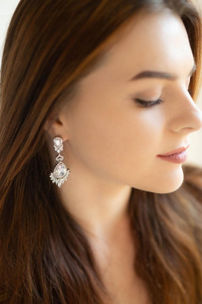 Crystal Bridal Earrings Art Deco vintage style earrings image 0