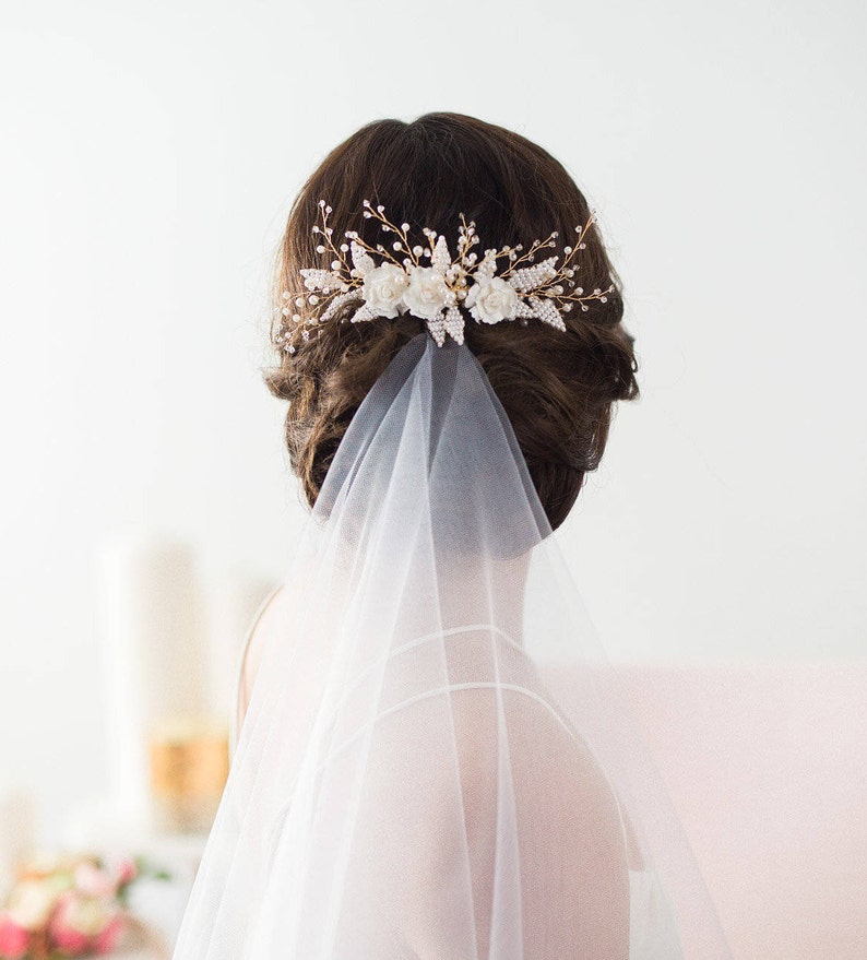 Wedding Hair Comb Gold Bridal Hairpiece Beaded Bridal image 0