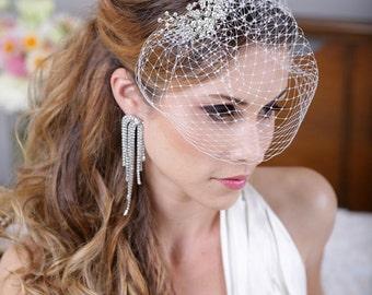 FREE SHIPPNG, Silver Crystal Birdcage Veil, Silver Crystal Bird Cage Bridal Veil, Crystal Bird Cage Veil, Silver Rhinestone Wedding Veil