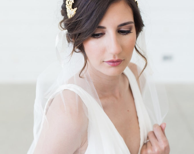 Gold Grecian Headpiece, Laurel Leaves Headband, Bridal Cap, Gold Head Piece, Juliet Cap veil, Art Deco Headpiece, Juliet Veil