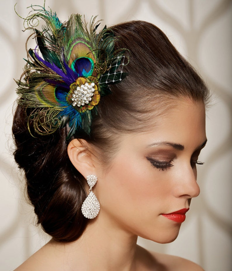 Royal Blue Peacock Hair Clip Bridal Head Piece Peacock Feather image 0