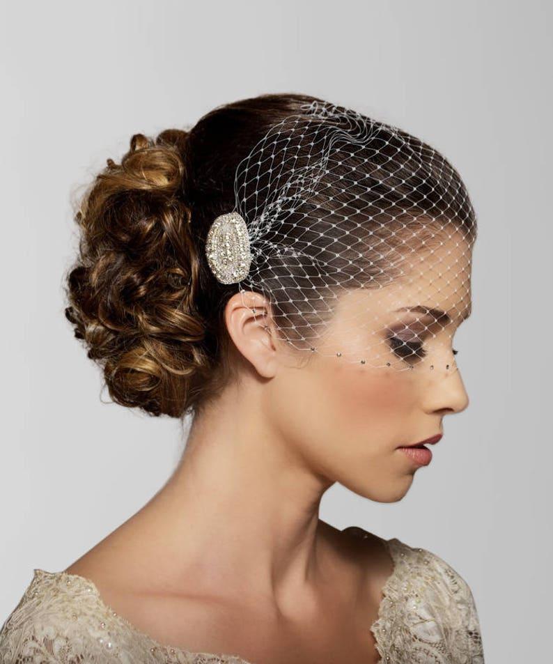 46dc0c13f05c7 Birdcage veil Wedding Veil Rhinestone edge Bandeau Bird