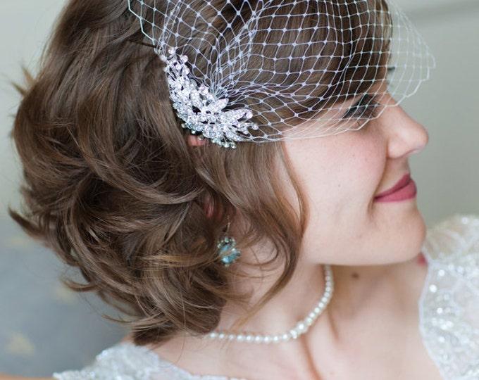 Birdcage veil, Blusher Veil, Wedding Veil, Crystal Comb Veil, Bridal Veil, Bridal Comb, Bandeau Birdcage Veil, Blusher Bird Cage Veil