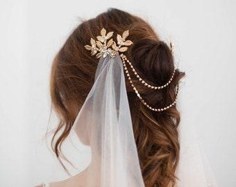 Draped veil, soft Boho Wedding veil, gold leaves crystal comb soft tulle veil, bridal veil, draped chain back piece, bridal tulle net veil