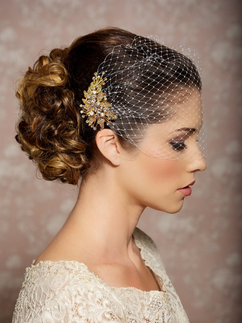 Ivory Birdcage Veil Wedding Veil Gold Crystal Comb Blusher Plain Edge