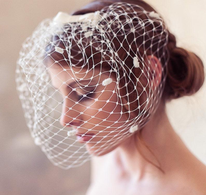 Ivory dotted birdcage veil polka dot veil polka dot birdcage image 0
