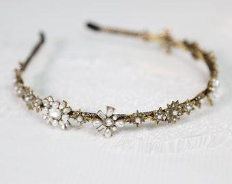 Wedding Headband, Vintage style bridal Hair piece, Gold wedding crown, Wedding Crown, gold vintage bridal headband, gold wedding hair piece