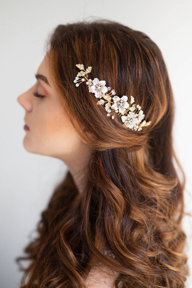 Floral Bridal Comb Crystal hair piece Floral Wedding image 0