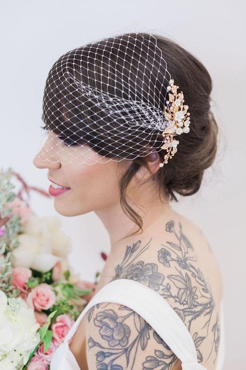 Gold Flower Headpiece Birdcage Veil Ivory Flower Hair Vine image 0