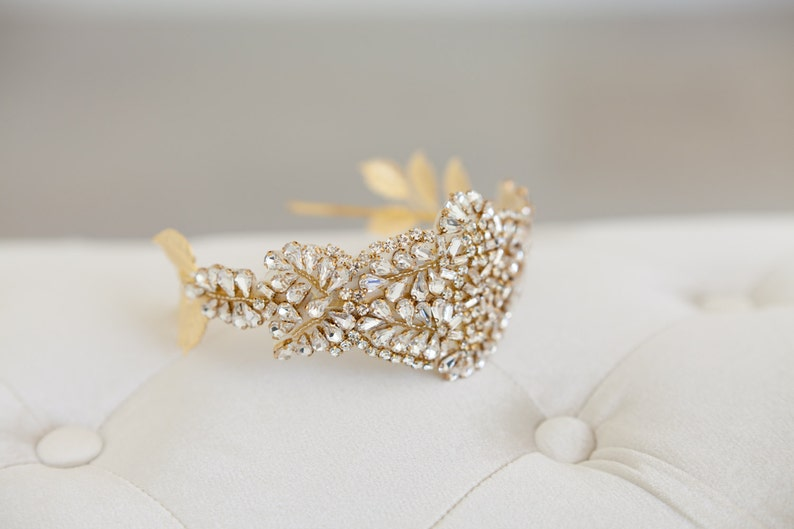 Gold Juliet Cap Art deco headband Great Gatsby Headband image 0