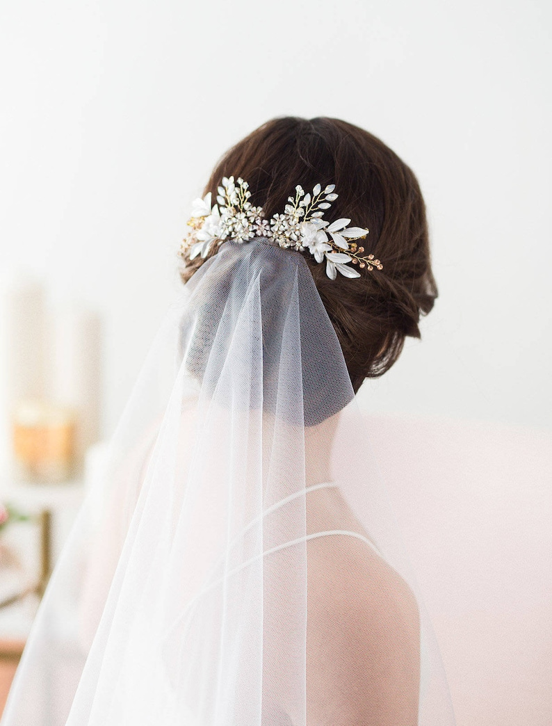 Rose Gold Wedding Hair Comb Flower Headpiece Bridal Hair image 0