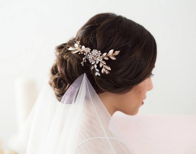 Rose Gold Hair Vine Bridal Headpiece Wedding Hair Vine image 0