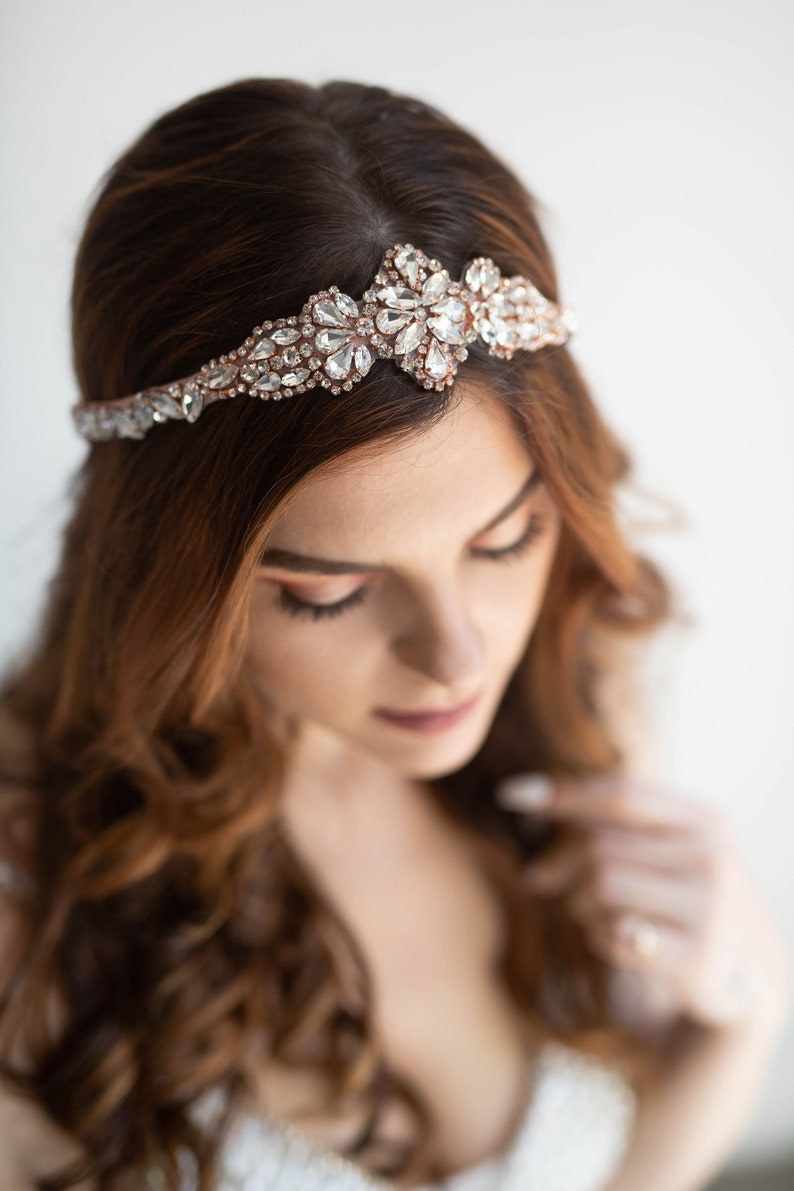 Rose Gold Crystal Bridal Headband Rose Gold Bridal Headpiece image 0