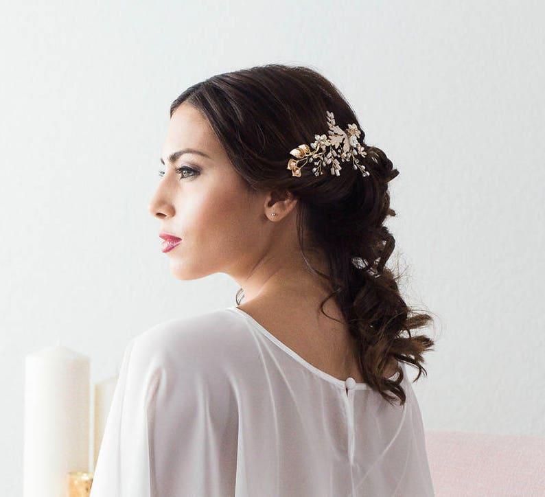 Gold Bridal Hair Comb Bridal Hair Piece Gold Blush Pink Hair Comb Wedding Hairpiece Wedding Headpiece Floral Wedding Hair Comb