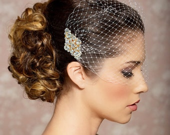 Ivory Birdcage Veil, Elopement Wedding Veil, Gold Crystal Comb, Blusher Veil, black veil wedding, Bandeau Birdcage Veil, Gold Bird cage Veil
