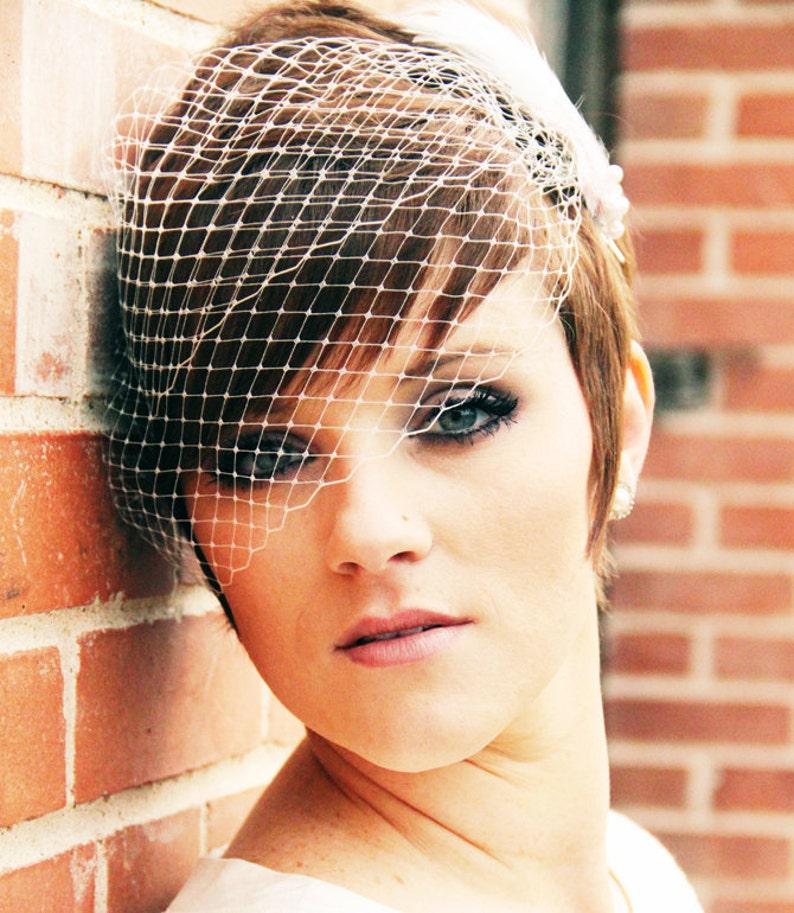 FREE USA SHIPPNIG Wedding Veil Bandeau Birdcage Veil image 0