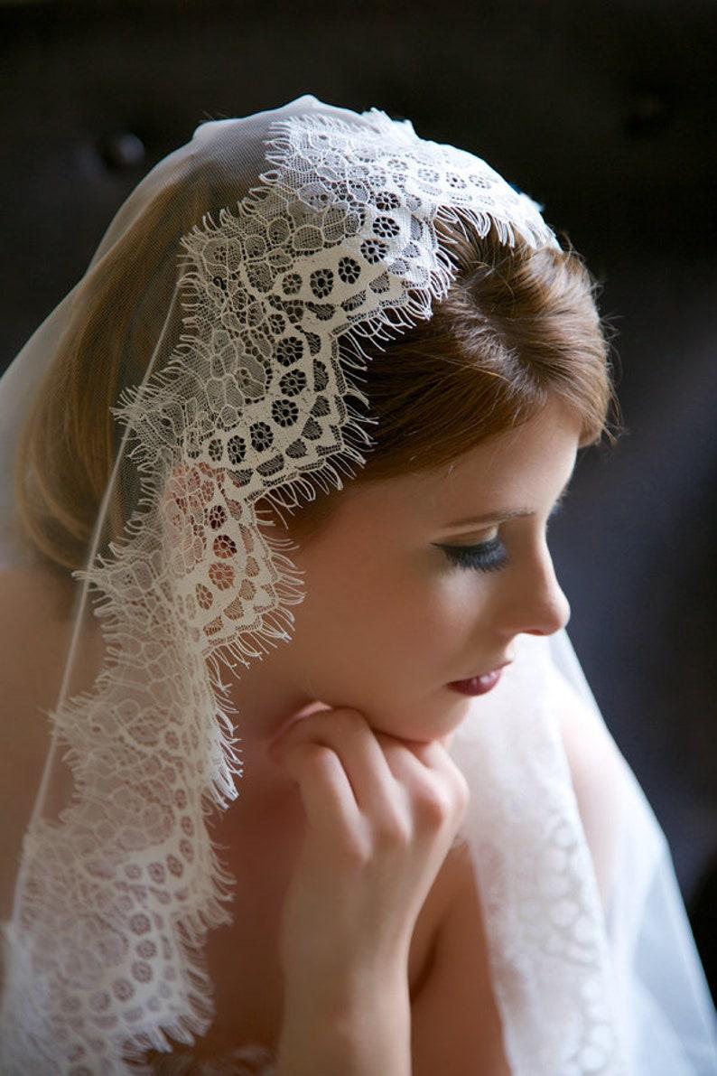Fingertip Veil Lace Mantilla Veil Ivory Ivory Wedding Veil image 0