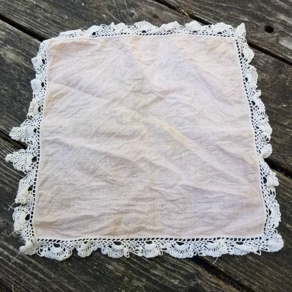 Antique pink, hand-crocheted cotton handkerchief