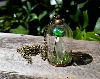 Green flower and quartz crystal terrarium necklace