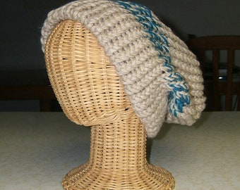 16dfc99cf29 Wheat Danish Blue knit hat stocking cap wool recycled yarn upcycled  materials double strand 12 inches deep slouch style hat