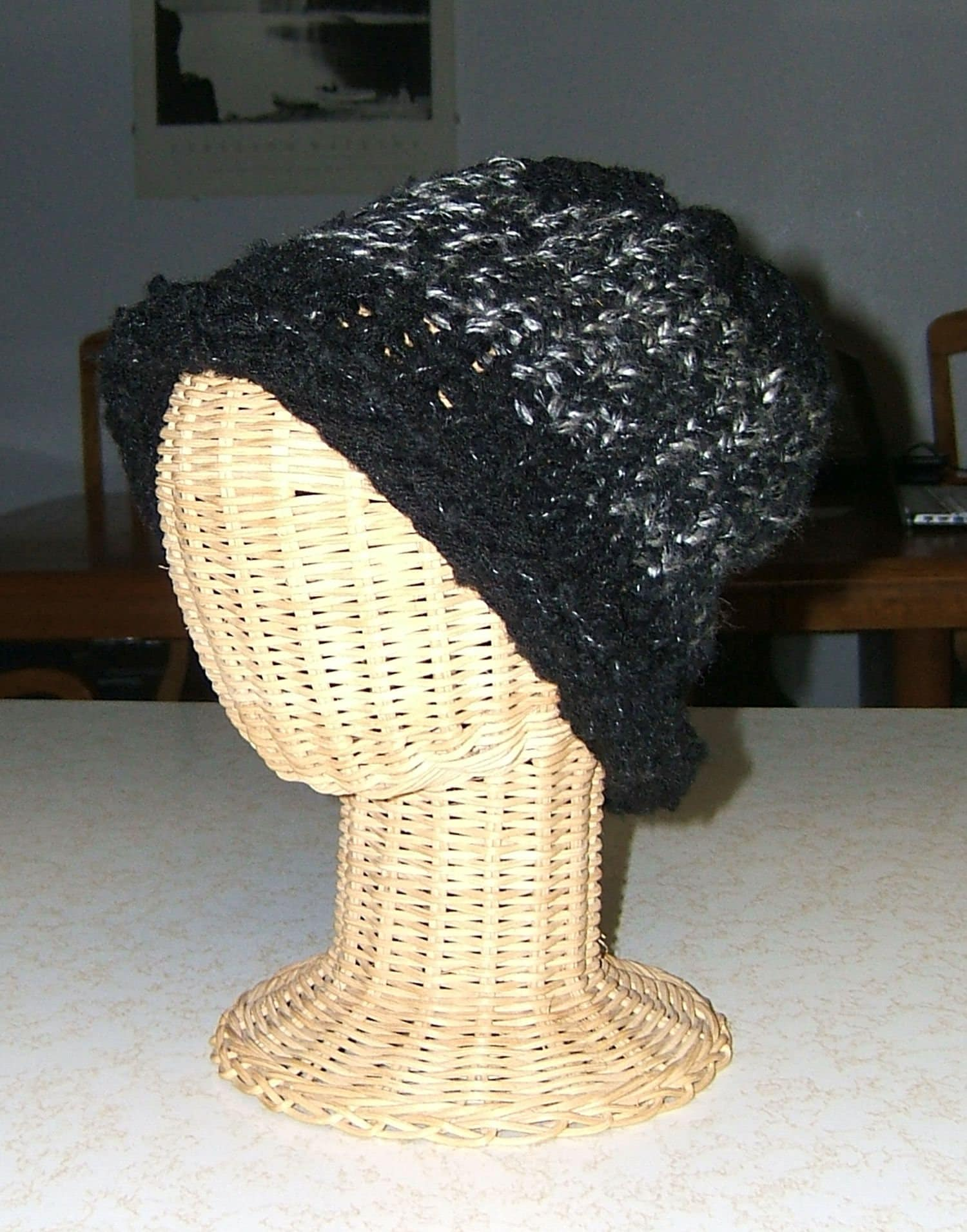f2944682d Black watch cap upcycled yarns rugged stocking cap toque skull wool boucle  polyester acrylic hand knitted curled brim adult size M/L 8