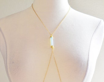 Opalite Moonstone Gold Body Chain Harness