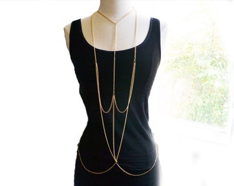 Gold Cross Body Chain Harness Necklace